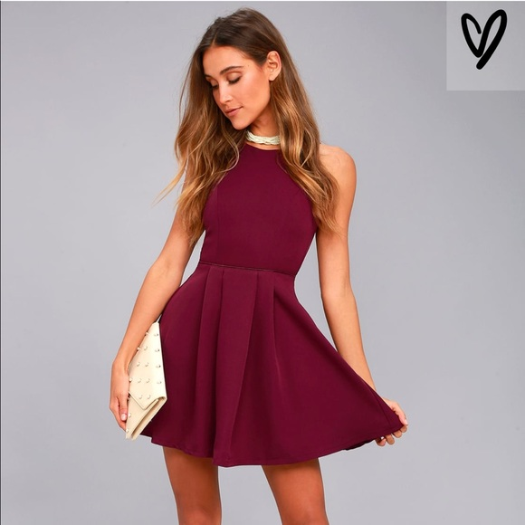 b5346177f3 Party Hop Burgundy Backless Skater Dress. NWT. Lulu s